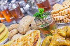 Moroccan sweets with tea Stock Image