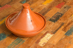 Moroccan tagine on a colorful table Stock Image