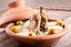 Moroccan tagine with lamb ribs Royalty Free Stock Photo