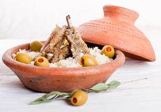 Moroccan tagine with lamb ribs Stock Photography