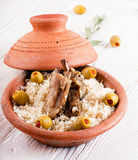 Moroccan tagine with lamb ribs, couscous Royalty Free Stock Image