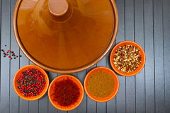 Moroccan tahine with four bowls with spices Stock Photo