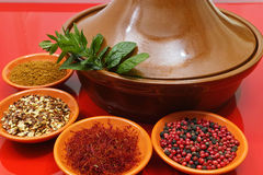 Moroccan tahine with four bowls with spices and fresh mint Stock Photos