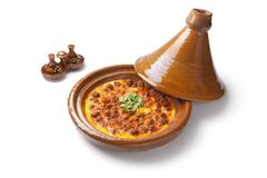 Moroccan tajine with egg and meat Royalty Free Stock Photo