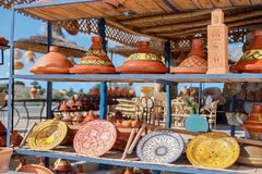 Moroccan tajine pottery and ceramic plates for sale. royalty free stock images