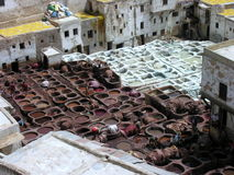 Moroccan Tannery. Old tannery in Moroccan Medina Royalty Free Stock Photography