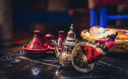 Moroccan Tea. Delicious traditional served moroccan tea, in a raid in Marrakech Royalty Free Stock Images