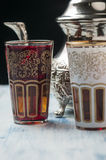 Moroccan tea glasses of colors Royalty Free Stock Photos