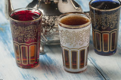 Moroccan tea glasses of colors Stock Photography