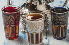 Moroccan tea glasses of colors Royalty Free Stock Photo