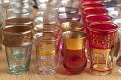 Moroccan tea glasses on the market Stock Photos