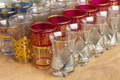 Moroccan tea glasses on the market Stock Photography