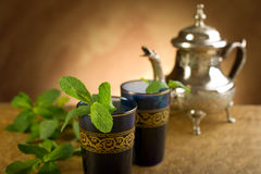 Moroccan tea with mint leaf Royalty Free Stock Photos