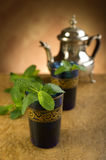 Moroccan tea with mint leaf Stock Images
