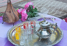 Moroccan tea set Royalty Free Stock Image