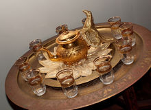Moroccan tea set, oblique view Stock Photo