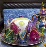 Moroccan teapots and cups Stock Image