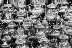 Moroccan teapots on sale, Marrakech Medina, Morocco.  Royalty Free Stock Photo