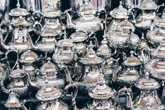 Moroccan teapots on sale, Marrakech Medina, Morocco.  Stock Photography