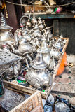Moroccan Teapots. Silver teapot in the markets in Fes Royalty Free Stock Photos