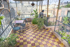Moroccan terrace, Marakech. Typical Moroccan Roof Terrace in the old medina of Morocco, Africa Stock Photos