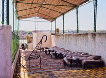 Moroccan Terrace. Typical Moroccan Roof Terrace in the old medina of Fes, Morocco, Africa Royalty Free Stock Images