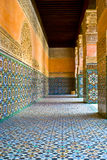 Moroccan tile. Hallway lined with brightly colored Moroccan mosaic tile royalty free stock photo