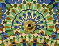 Moroccan Zellige Tile framed fountain. Moroccan tile on the wall of the Mosque Hassan II in Casablanca Morocco Stock Photography