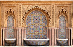 Moroccan tiled fountain. Typical moroccan tiled fountain in the city of Rabat, near the Hassan II Tower