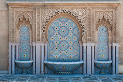 Moroccan tiled fountain. Typical moroccan tiled fountain in the city of Rabat, near the Hassan Tower and Mohamed V Mausoleum Royalty Free Stock Photos