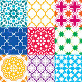 Moroccan tiles design, seamless geometric pattern collections in blue, green, red, orange, navy blue Royalty Free Stock Photography