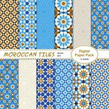 Moroccan tiles digital paper pack stock illustration