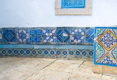 Moroccan tiles. Fragment of decorative furnishing the house wall. royalty free stock image