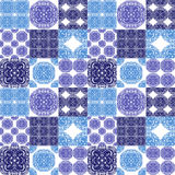 Moroccan tiles ornaments in blue and white colors. Stock Images