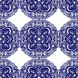 Moroccan tiles ornaments in blue and white colors. Stock Image