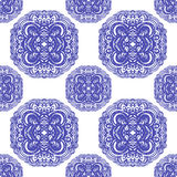 Moroccan tiles ornaments in blue and white colors. Royalty Free Stock Photo