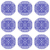 Moroccan tiles ornaments in blue and white colors. Stock Photo