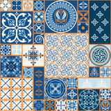 Moroccan tiles Pattern. Vector Illustration of Moroccan tiles Seamless Pattern for Design, Website, Background, Banner. Spanish element for Wallpaper, Ceramic or Royalty Free Stock Images