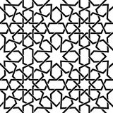 Moroccan tiles vector pattern, Moorish seamless design in black, Geometric abstract tiles Stock Photos