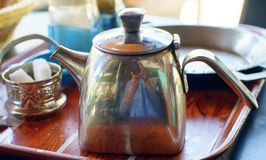 Moroccan traditional silver teapot. royalty free stock photo