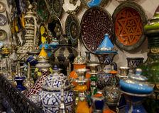 Moroccan utensils. Ceramic  plates , jug pitchers Royalty Free Stock Photos