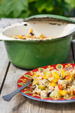 Moroccan vegetable stew. With couscous royalty free stock image