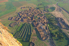 Moroccan village at dawn from hot air balloon Stock Photo