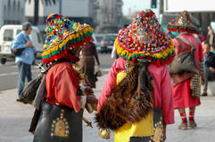 Moroccan water sellers. Unidentified water sellers on the street of Casablanca, Morocco. Water sellers are dressed in colorful dress, ringing brass bells and stock photos
