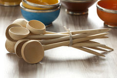 Moroccan wooden soup spoons Royalty Free Stock Photography