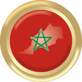 Morocco. Art illustration: round gold medal with map and flag of morocco Royalty Free Stock Photos