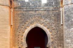 in morocco africa ancien and wall ornate   yellow Royalty Free Stock Photos