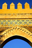 Morocco arch in africa old   blue sky. Morocco arch in africa old construction     the blue sky Stock Photo