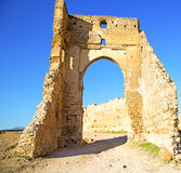 Morocco arch in africa old construction street  the blue sky. Morocco arch in africa old construction     the blue sky Royalty Free Stock Images