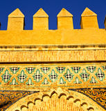 Morocco arch in africa old    construction street  the blue sky. Morocco arch in africa old construction     the blue sky Royalty Free Stock Image